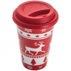 Drinking cup with christmas design 400ml, red