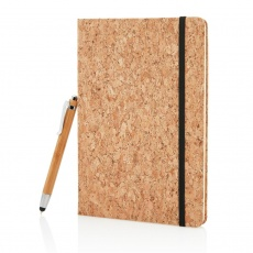 A5 notebook with bamboo pen including stylus, brown