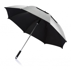 "Logo trade promotional merchandise photo of: 27"" Hurricane storm umbrella, grey"