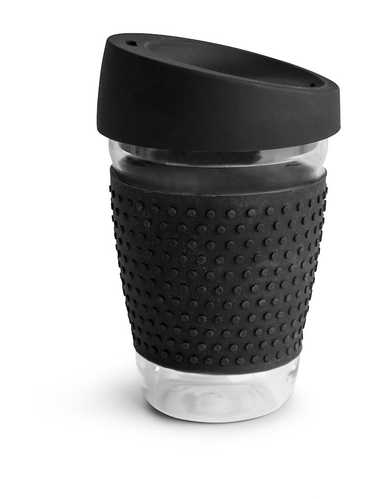 Logo trade promotional giveaways picture of: Glass mug, black