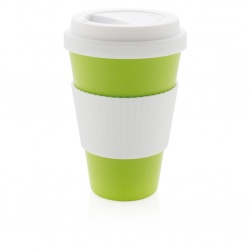 Logo trade promotional giveaways picture of: ECO bamboo fibre cup 430ml, green