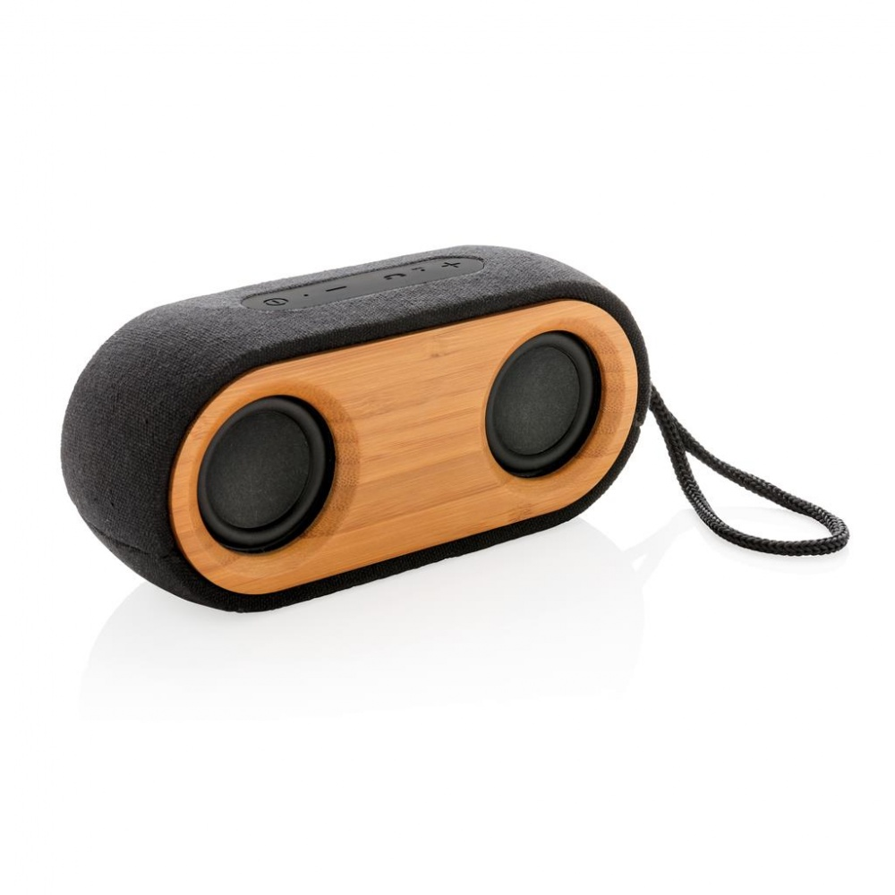 Logo trade corporate gifts picture of: Bamboo X double speaker, black