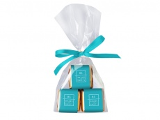3 mini bars chocolate in transparent bag with ribbon