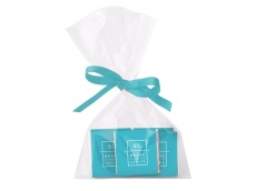 5 square chocolates in transparent bag with ribbon