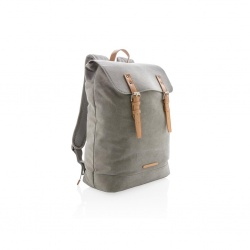 Logo trade advertising product photo of: Canvas laptop backpack PVC free, grey