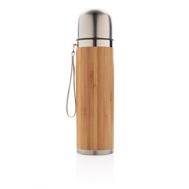 Logo trade promotional item photo of: Bamboo vacuum travel flask, brown