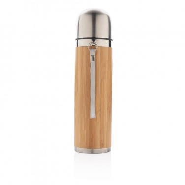 Logo trade promotional items picture of: Bamboo vacuum travel flask, brown