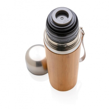 Logotrade promotional products photo of: Bamboo vacuum travel flask, brown