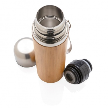 Logotrade promotional gift picture of: Bamboo vacuum travel flask, brown