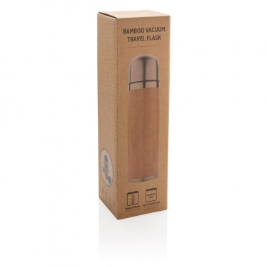 Logo trade promotional products image of: Bamboo vacuum travel flask, brown