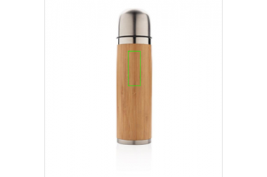 Logo trade corporate gifts picture of: Bamboo vacuum travel flask, brown