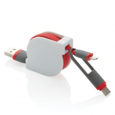 3-in-1 retractable cable, red