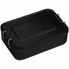 Aluminum lunch box with closure, Black