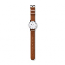 #3 Watch with genuine leather strap, brown