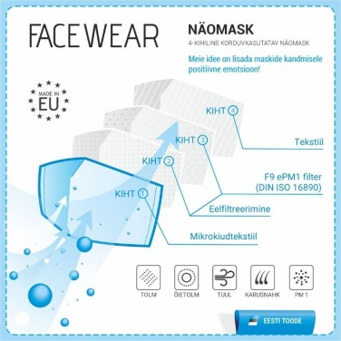Logotrade business gift image of: Face mask with a filter, black
