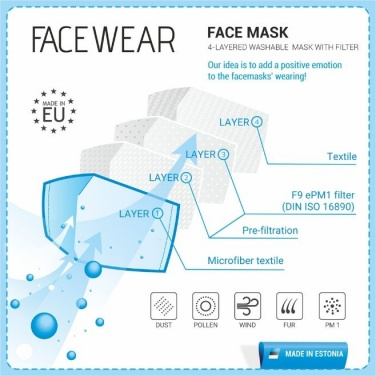 Logotrade promotional giveaways photo of: Face mask with a filter, black